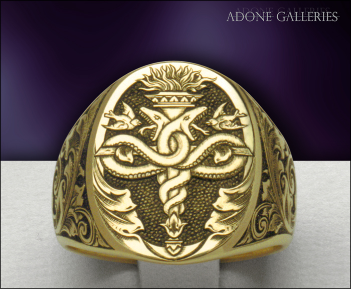 signet ring Caduceus