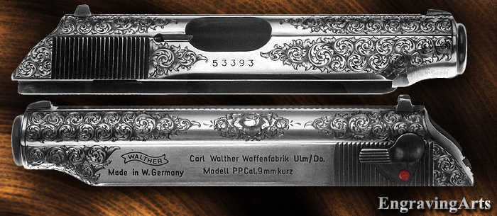 PPK engraved in English Scroll