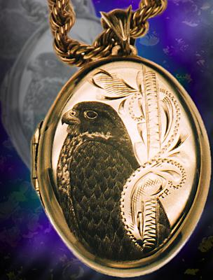 Gold Locket, Falcon engraving