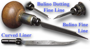 Bulino gravers, fine line and dotting also curved liner