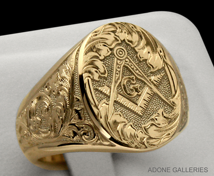 master mason hand engraved gold signet ring